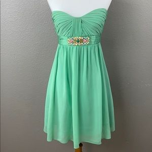 BCBG Mint Green Strapless Formal Mini w/ beading